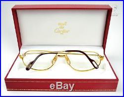 Orig NOS c1986 Vintage CARTIER Romance L. C Eyeglasses 22ct GP 58-18 mm drake