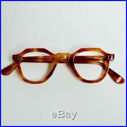 Original 1950s French eyeglasses thick crown panto handmade in france / Rare