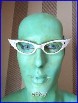 Pearl White Silver Stars 50s Cateye Vintage French Eyeglasses Sunglasses Frame