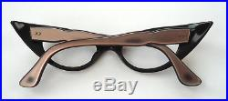 Pink & Black Silver Stars 50s Cateye Vintage French Eyeglasses Sunglasses Frame