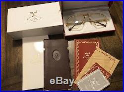 RARE! CARTIER TANK 62-14 140 Gold Vintage Eyeglasses / Sunglasses 11211
