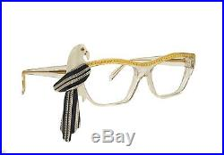 Rare French Vintage Louis Feraud Lerida Rhinestone Parrot Cat Eye Glasses Frames