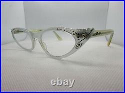 SELECTA 1950s Cat Eye Rhinestone Pearl Blue Green Vintage Eyeglasses Frame