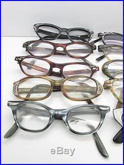 SET of 10 Vintage CAT EYE EYEGLASSES Eyewear FRAMES france bulk lot TV6 S26
