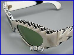 Selecta France Glasses Vintage Sunglasses Charming Cat-Eye Ivory Effect Intarsia