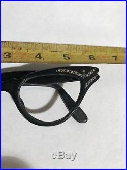 True vintage French Black Rhinestone Cat Eye Glasses Made in France- Tiny stars