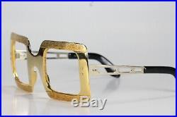 VINTAGE 1970s FRAME FRANCE ELVIS PRESLEY GOLD CHROME SQUARE SUNGLASSES FRAMES