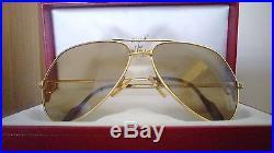 Vintage Cartier Santos 62/14 Large Sunglasses France 18k Gold Heavy Plated