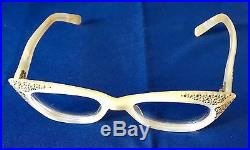 Vintage Mother Of Pearl Pointy Rhinestone Cats Eye Glasses Made In France