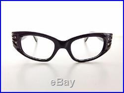 VTG 50s 60s Rockabilly NOS French Cat Eye Eyeglasses Carved Rhinestones France