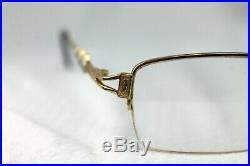 VTG Cartier Paris 2606209 Gold Half Rim Square Studded Eyeglasses Frames 135