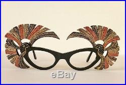 VTG Eyeglass Frames Cat Eye FRENCH NEW Rhinestones Pointy Mardi Gras Jeweled NOS