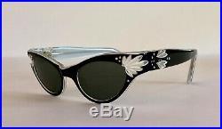 VTG FRENCH Sunglasses NEW Cat Eye Rhinestones Jeweled Pointy Frames Eyeglasses