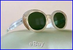 VTG FRENCH Sunglasses White JEWELED NEW Rhinestones Frames Eyeglasses 1950s NOS