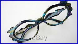 Very Fancy Rare Cateye Ladies Plastic Glasses Multicolour Blue Green Size L