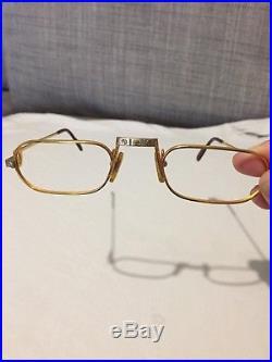 Vintage1987 24K gold filled Cartier Paris eyeglasses frames Demi Lune Santos