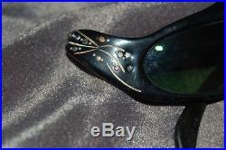 Vintage 1950s Black Cat Eyes Eyeglasses Black With Rhinestones
