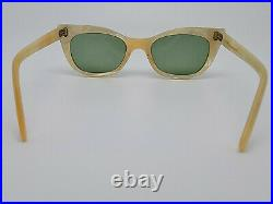 Vintage 1950s Cat Eye Rhinestone Pearl White Eyeglasses Frame France RARE