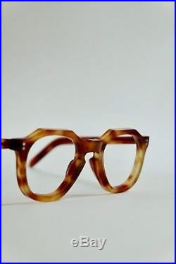 Vintage 1950s French Eyeglasses Thick Crown Panto Keyhole Bridge Made In France