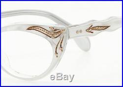 Vintage 1950s cateye eglasses Selecta Margaret Decor pearl-white 44-20 #EG 1-4