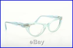 Vintage 1950s cateye eyeglasses Selecta Bijou Decor velvet blue 44-18mm #EG 1-1