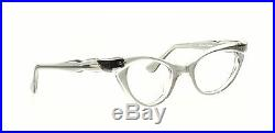 Vintage 1950s cateye eyeglasses Selecta Bijou Smoke on Crystal 46-24mm #EG 1-3