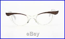 Vintage 1950s cateye eyeglasses Selecta Bijou mink white on crystal 44-20mm 1-2