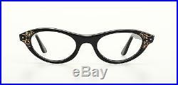 Vintage 1950s cateye eyeglasses Selecta, Mod. Nanette with Strass in black