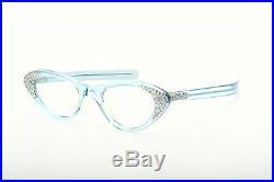 Vintage 1950s cateye eyeglasses Selecta crystal blue strass decor 44-22mm EG 1-2