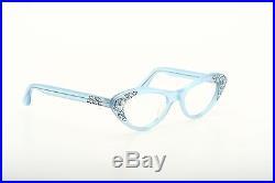 Vintage 1950s cateye eyeglasses Selecta velvet blue strass decor 42-22mm EG 1-2