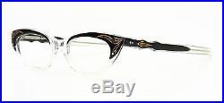 Vintage 1950s cateye eyeglasses by Selecta Margaret Decor black, clear + strass