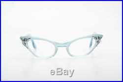 Vintage 1950s pointy cateye eyeglasses by Selecta Colette velvet blue deco 44-22