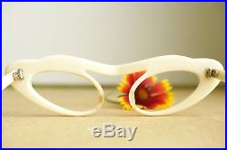 Vintage 1960's cateye eyeglasses New Old stock White cream toned made in france
