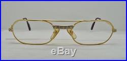 Vintage 1980's CARTIER SANTOS Sunglasses Eyeglasses Lunettes Gold Plated Frame