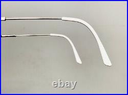 Vintage 1980s Logo Semi Rimless Designer Eyeglasses Gold & Faux White Bamboo