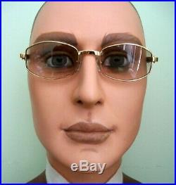 Vintage 1990's Eyeglasses Frame Gold Wood Men case & cloth Mint Flawless