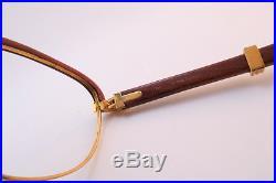 Vintage 24K gold filled eyeglasses frames Cartier Paris ©1990 Wood 54-17 130b