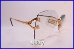 Vintage 24K gold filled eyeglasses frames Cartier Paris rimless 18 130 sl 136810