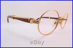 9df31064053 Vintage 24K gold filled eyeglasses frames Cartier Paris wooden arms 53-22  140