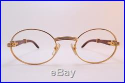Vintage 24K gold filled eyeglasses frames Cartier Paris wooden arms 53-22 140