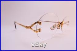 Vintage 24K gold filled eyeglasses frames withcase Cartier Paris rimless 20-135