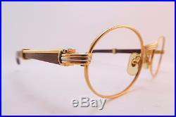 Vintage 24K gold filled & wood eyeglasses frames Cartier Paris 49-20 130B