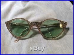 Vintage 40's / 50's Made In France Cat Eye Prescription Frames Marcasite Accent