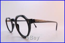 Vintage 40s French acetate black eyeglasses frames keyhole bridge France