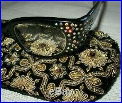 Vintage 50's Rhinestone Swank France Cateye Eyeglass Frame Black Oohlala