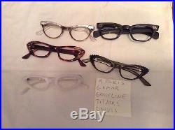 Vintage 50s 60s Cat rhinestone France Glasses Lot eyeglasses Frame 35 Pair