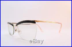 acce22a388b Vintage 50s AMOR gold filled eyeglasses frames black brow detail made in  France