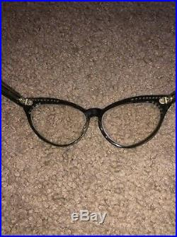 Vintage 50s Cat Eye Faux Mother of Pearl Rhinestones Glasses Frame France 46-20