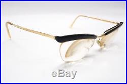 Vintage'50s Rx Eyeglasses Frames Gold Black Brow Line AMOR France 4865