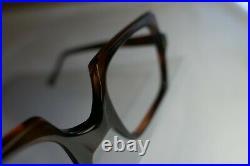 Vintage 60s Square Mod Oversized Tortoise Geometric Brown France Eyeglass Frame